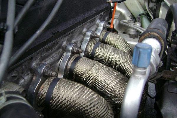 Kool Wrap Titanium Exhaust Wrap on engine